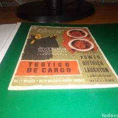 Foglietti di film di film antichi di cinema: ANTIGUO PROGRAMA DE CINE TESTIGO DE CARGO. Lote 218195236