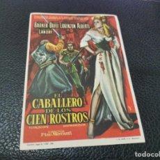 Cine: PROGRAMA DE MANO ORIG - EL CABALLERO DE LOS CIEN ROSTROS - SIN CINE IMPRESO AL DORSO. Lote 218259953