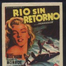 Cine: P-8909- RÍO SIN RETORNO (RIVER OF NO RETURN) (SOLIGÓ) ROBERT MITCHUM - MARILYN MONROE - RORY CALHOUN. Lote 218260335