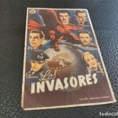 Cine: PROGRAMA DE MANO ORIG - LOS INVASORES - CON CINE DE SAN PEDRO PESCADOR. Lote 218294548