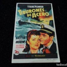 Cine: TIBURONES DE ACERO - FOLLETO MANO ORIGINAL TYRONE POWER ANNE BAXTER. Lote 218297143