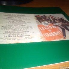 Cine: ANTIGUO PROGRAMA DE CINE DOBLE LEGIÓN DE TIRADORES. CON PUBLICIDAD CINE VICTORIA DE JAÉN. Lote 218308191