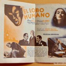 Cine: EL LOBO HUMANO PROGRAMA DOBLE UNIVERSAL HENRY HULL WARNER OLAND UNIVERSAL TERROR. Lote 218398195
