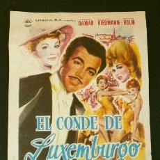Cine: EL CONDE DE LUXEMBURGO (FILM RFA 1957) FOLLETO DE MANO - CINE ABC 1962 - GERHARD RIEDMANN. Lote 218398267