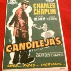 Foglietti di film di film antichi di cinema: CANDILEJAS (FILM USA 1952) FOLLETO DE MANO - CINE TROPICAL DE MALGRAT DE MAR 1955 - LIMELIGHT. Lote 218398492