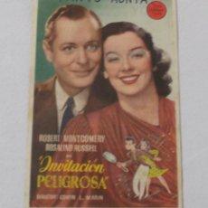 Cine: PROGRAMA FOLLETO - UNA INVITACIÓN PELIGROSA 13 CM X 8,5 CM REVERSO PUBLICIDAD CINEMA EUROPA 1946. Lote 218441838