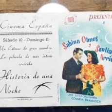 Flyers Publicitaires de films Anciens: PROGRAMA DE CINE DOBLE . HISTORIA DE UNA NOCHE. CINE DORSO. Lote 218558107
