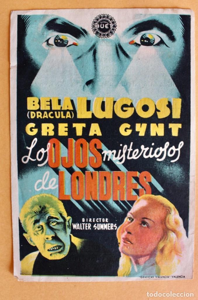 LOS OJOS MISTERIOSOS DE LONDRES (THE DARK EYES OF LONDON) (EXCLUSIVAS HUET) BELA LUGOSI (Cine - Folletos de Mano - Terror)