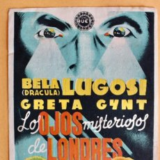 Cine: LOS OJOS MISTERIOSOS DE LONDRES (THE DARK EYES OF LONDON) (EXCLUSIVAS HUET) BELA LUGOSI. Lote 218559223