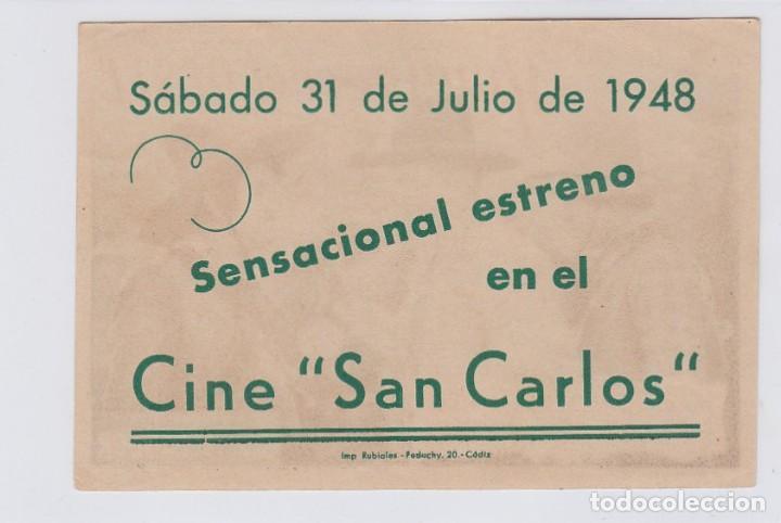 Cine: Hombres del Oeste. Programa de cine. Sencillo con publicidad. Cine San Carlos. Cádiz. - Foto 2 - 218595621