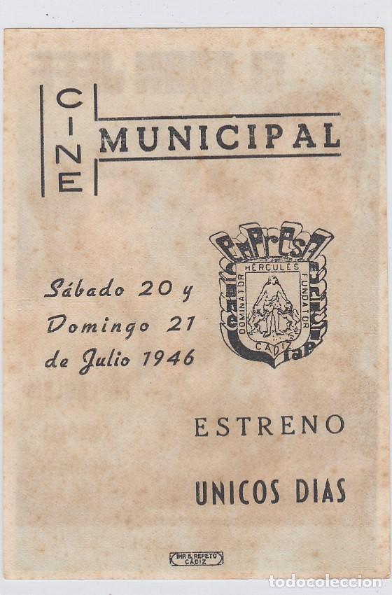 Cine: El gran Jefe. Programa de cine. Sencillo con publicidad. Cine Municipal. Cádiz. - Foto 2 - 218595767