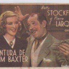 Cine: UNA AVENTURA DE JIM BAXTER. PROGRAMA DE CINE. SENCILLO CON PUBLICIDAD. CINE GADES. CÁDIZ.. Lote 218596237