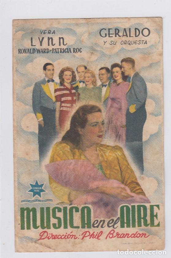 MÚSICA EN EL AIRE. PROGRAMA DE CINE. SENCILLO CON PUBLICIDAD. CINE GADES. CÁDIZ. (Cine - Folletos de Mano - Musicales)
