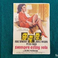 Flyers Publicitaires de films Anciens: PROGRAMA DE MANO CINE SIEMPRE ESTOY SOLA - CON CINE AL DORSO. Lote 218654418