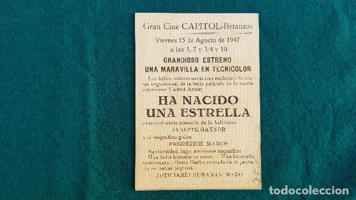 Cine: PROGRAMA DE MANO CINE HA NACIDO UNA ESTRELLA (1947) CON CINE AL DORSO - Foto 2 - 218658492