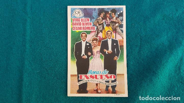PROGRAMA DE MANO CINE HORAS DE ENSUEÑO (1952) CON CINE AL DORSO (Cine - Folletos de Mano - Musicales)