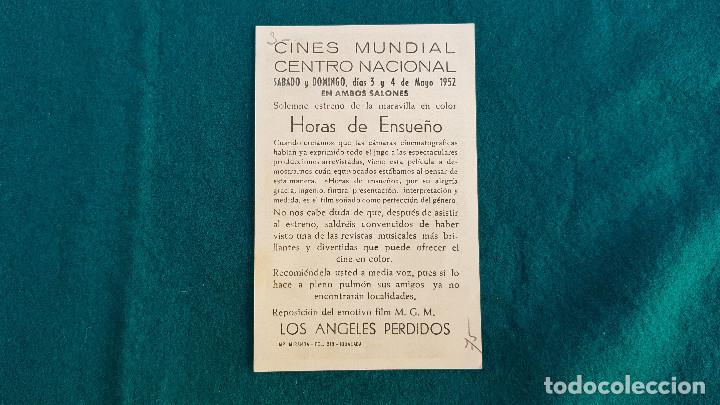 Cine: PROGRAMA DE MANO CINE HORAS DE ENSUEÑO (1952) CON CINE AL DORSO - Foto 2 - 218659016