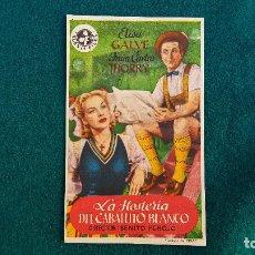 Flyers Publicitaires de films Anciens: PROGRAMA DE MANO CINE LA HOSTERIA DEL CABALLITO BLANCO - CON CINE AL DORSO. Lote 218659245
