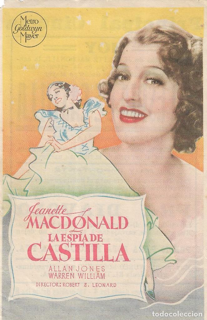 PN - PROGRAMA DE CINE - LA ESPÍA DE CASTILLA - JEANETTE MACDONALD - PRINCIPAL CINEMA (MÁLAGA) - 1937 (Cine - Folletos de Mano - Musicales)