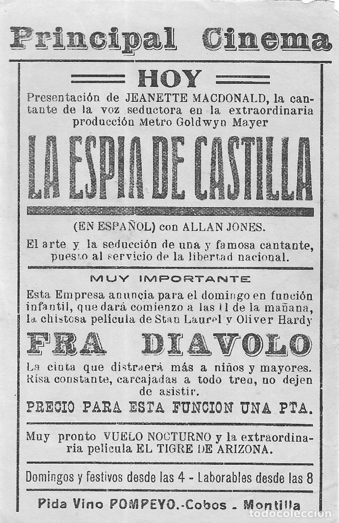 Cine: PN - PROGRAMA DE CINE - LA ESPÍA DE CASTILLA - JEANETTE MACDONALD - PRINCIPAL CINEMA (Málaga) - 1937 - Foto 2 - 218660903