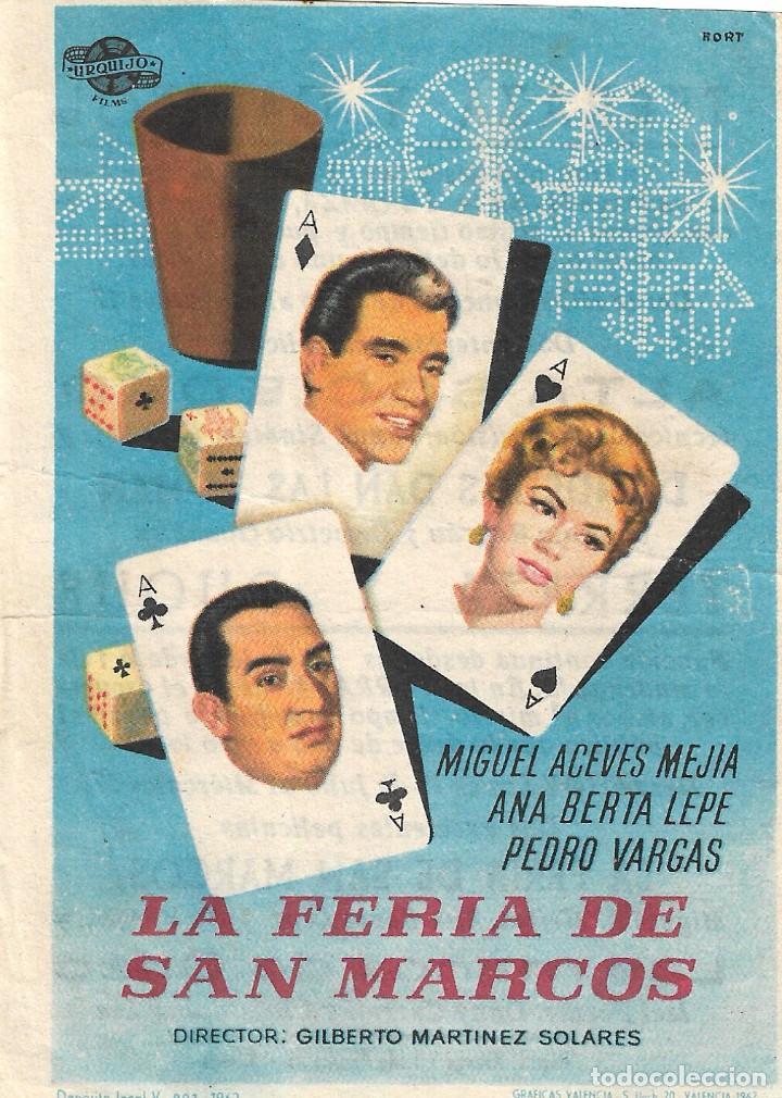 PN - PROGRAMA DE CINE - LA FERIA DE SAN MARCOS - MIGUEL ACEVES MEJÍA - CINE CAPITOL Y DUQUE (MÁLAGA) (Cine - Folletos de Mano - Musicales)