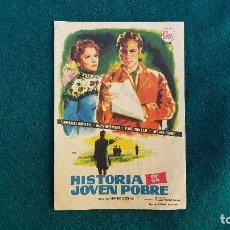 Flyers Publicitaires de films Anciens: PROGRAMA DE MANO CINE HISTORIA DE UN JOVEN POBRE - CON CINE AL DORSO. Lote 218664558