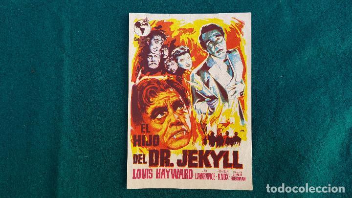 PROGRAMA DE MANO CINE EL HIJO DEL DR. JEKYLL - CON CINE AL DORSO (Cine - Folletos de Mano - Terror)