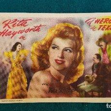 Flyers Publicitaires de films Anciens: PROGRAMA DE MANO CINE EL HEROE DE TEXAS (1952) CON CINE AL DORSO. Lote 218673535