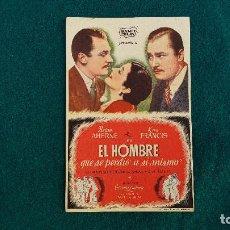 Cine: PROGRAMA DE MANO CINE EL HOMBRE QUE SE PERDIO A SI MISMO (1945) CON CINE AL DORSO. Lote 218674658