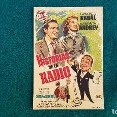 Cine: PROGRAMA DE MANO CINE HISTORIAS DE LA RADIO - CON CINE AL DORSO. Lote 218675156
