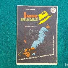 Cine: PROGRAMA DE MANO CINE SANGRE EN LA CALLE (1957) CON CINE AL DORSO. Lote 218684428