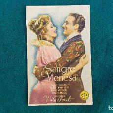 Cine: PROGRAMA DE MANO CINE SANGRE VIENESA - CON CINE AL DORSO. Lote 218687505