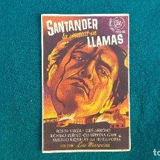Cine: PROGRAMA DE MANO CINE SANTANDER LA CIUDAD EN LLAMAS (1944) CON CINE AL DORSO. Lote 218687847
