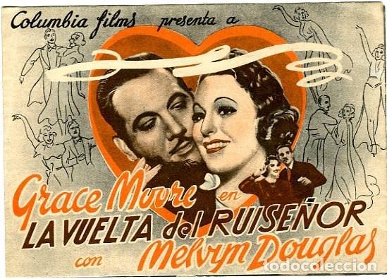 LA VUELTA DEL RUISENOR. PROGRAMA DOBLE. REVERSO TEATRO CALDERON DE ALCOY (Cine - Folletos de Mano - Musicales)