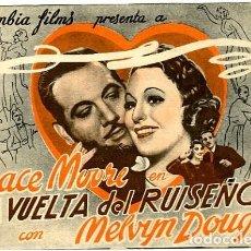 Cine: LA VUELTA DEL RUISENOR. PROGRAMA DOBLE. REVERSO TEATRO CALDERON DE ALCOY. Lote 218693338