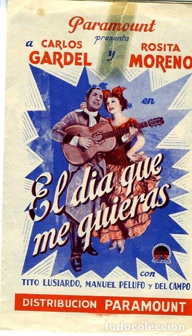 EL DIA QUE ME QUIERAS. PROGRAMA DOBLE. TEATRO PRINCIPAL DE ALCOY (Cine - Folletos de Mano - Musicales)