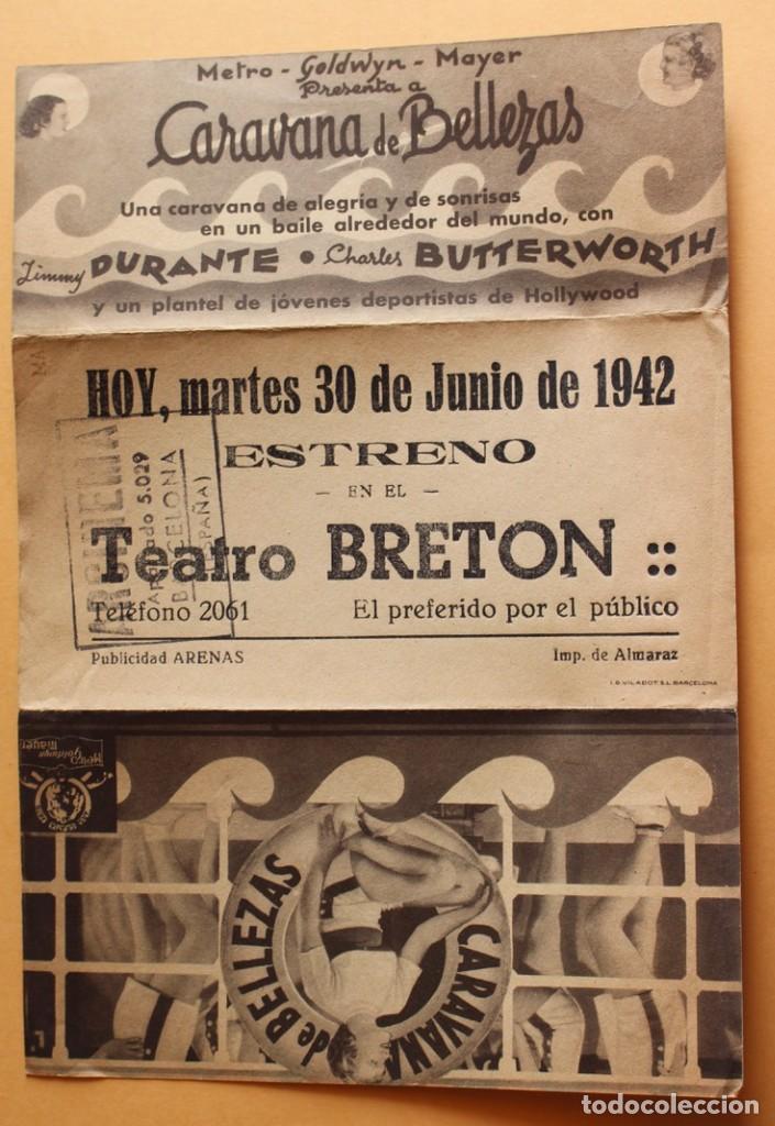 Cine: CARAVANA DE BELLEZAS. JIMMY DURANTE.- DOBLE GRANDE. REVERSO TEATRO BRETON DE ALMARAZ 1942 - Foto 2 - 218705227