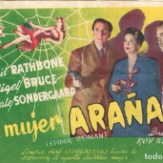 Cine: PN - PROGRAMA DE CINE - LA MUJER ARAÑA - BASIL RATHBONE - PRINCIPAL CINEMA (MÁLAGA) - 1943.. Lote 218710045
