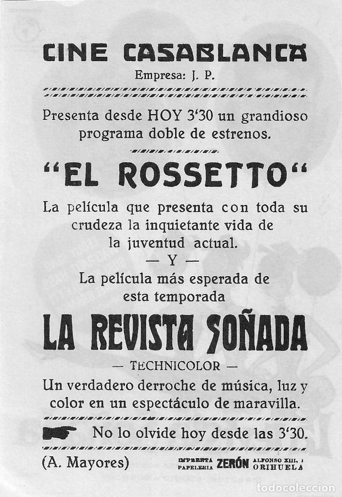 Cine: PN - PROGRAMA DE CINE - LA REVISTA SOÑADA - TEDDY RENO - CINE CASABLANCA (Orihuela) - 1959. - Foto 2 - 218728047