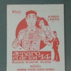 Flyers Publicitaires de films Anciens: JENARO EL DE LOS 14 - PROGRAMA SENCILLO.. Lote 218738796