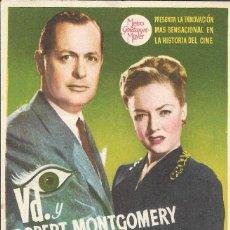 Cine: PN - PROGRAMA DE CINE - LA DAM DEL LAGO - ROBERT MONTGOMERY - CINE VICTORIA (MÁLAGA) - 1946.. Lote 218778137