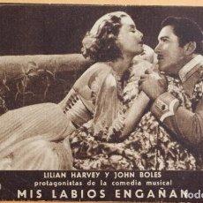 Cine: MIS LABIOS ENGAÑAN- LILIAN HARVEY Y JOHN BOLES- SALO GRAN VIA 1934. Lote 218797720