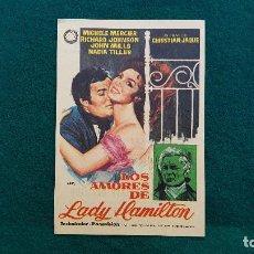 Flyers Publicitaires de films Anciens: PROGRAMA DE MANO CINE LOS AMORES DE LADY HAMILTON (1971) CON CINE AL DORSO. Lote 218964740