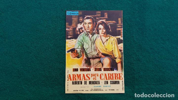 PROGRAMA DE MANO CINE ARMAS PARA EL CARIBE (1966) CON CINE AL DORSO (Cine - Folletos de Mano - Acción)