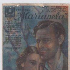 Cine: MARIANELA. PROGRAMA DE CINE. SENCILLO CON PUBLICIDAD. CINE GADES. CÁDIZ.. Lote 219222768
