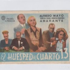 Cine: EL HUESPED DEL CUARTO 13. PROGRAMA DE CINE. SENCILLO CON PUBLICIDAD. CINE SAN CARLOS. CÁDIZ.. Lote 219223382