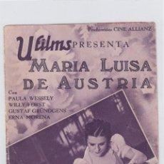 Cine: MARIA LUISA DE AUSTRIA. PROGRAMA DE CINE. DOBLE CON PUBLICIDAD. GRAN TEATRO FALLA. CÁDIZ.. Lote 219226516