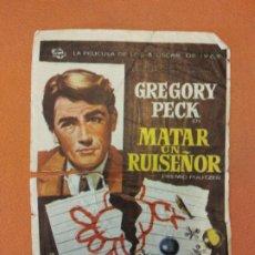 Cine: MATAR UN RUISEÑOR. GREGORY PECK. LA PELICULA DE LOS 3 OSCAR DE 1963. Lote 219271656