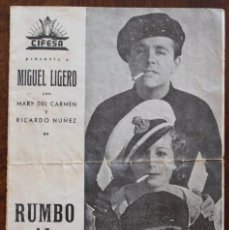 Cine: RUMBO AL CAIRO - PROGRAMA DE MANO DOBLE - AÑO 1940. Lote 219277063