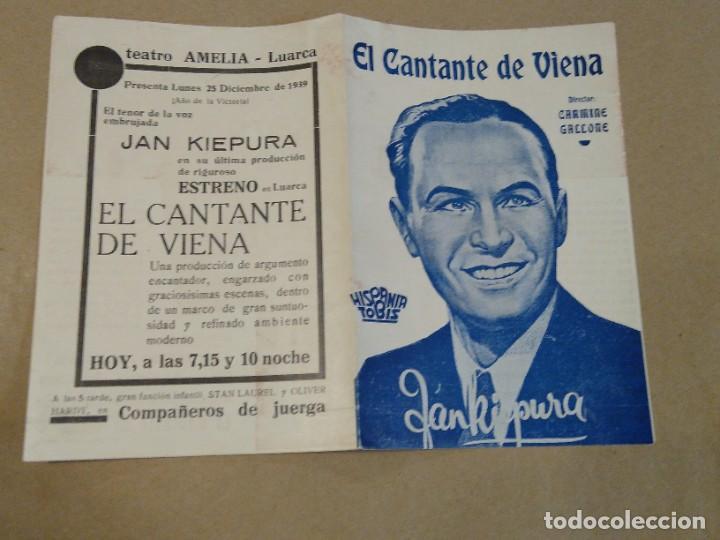 PROGRAMA DE CINE DOBLE EL CANTANTE DE VIENA. TEATRO AMELIA. LUARCA. ASTURIAS. (Cine - Folletos de Mano - Acción)